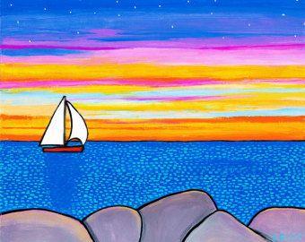 August Sonnenuntergang Nova Scotia Landschaft Print von AliceinParis auf Etsy   – Art