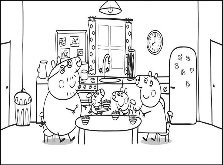 Peppa Pig Birthday Coloring Pages And Family Eating