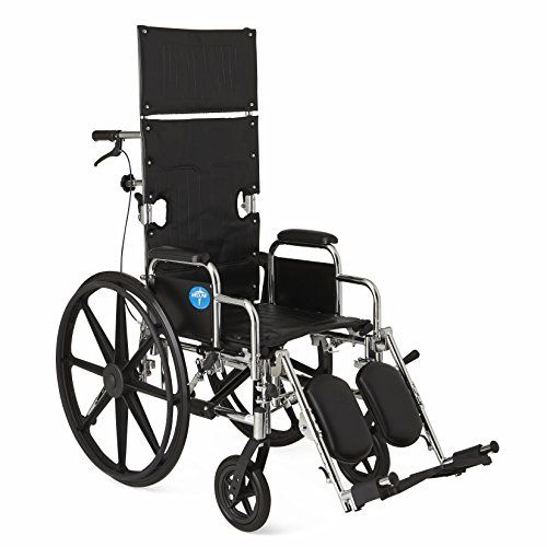 The Medline Recliner Wheelchair with infinite position reclining goes from 90 degrees to 140 degrees with quick adjust handles. A full back and head support is provided by a 22 inch high back and 10 i...