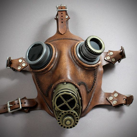 Steampunk Gas mask No. 66 in mahogany brown leather by TomBanwell