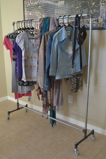 diy clothes rack all pipes and 4 wheels: Diy Garment Rack, Closets Ideas, Diy Furniture, Clothing Racks, Garment Racks, Diy Clothing, Diy Clothes, Small Spaces, Bedrooms Ideas