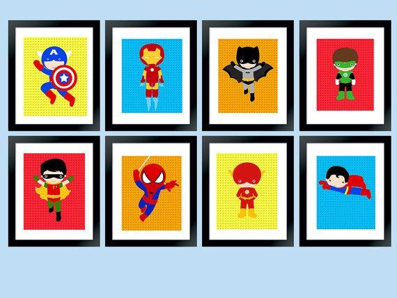 Superhero Set of 8 Wall Art DigitalSuper by RainbowSweetStudio