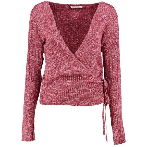Boohoo Hannah Wrap Front Marl Knitted Top ($18) ❤ liked on Polyvore featuring tops, red knit top, holiday party tops, going out tops, night out tops and wrap front top