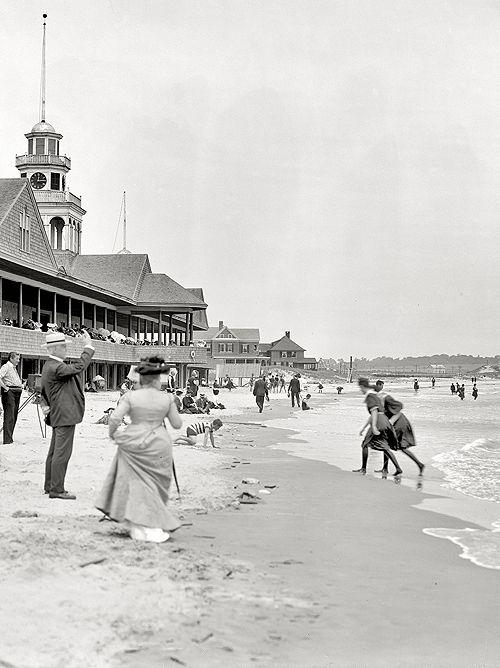 Rhode Island circa 1910. Narragansett Pier bathing beach.