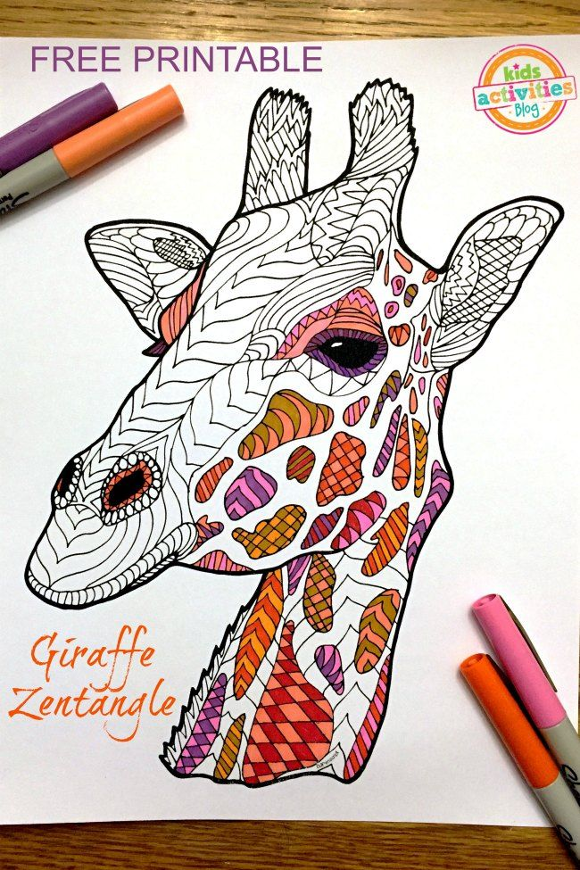 coloring pages for kids giraffe zentangle free printable - Free Printable Pictures For Kids