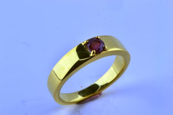 14K Gold Filled Round Natural Ruby Ring July by LuckyGirlAtelier