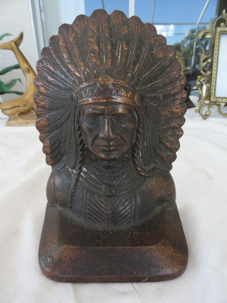Old Antique Cast Iron Indian Chief Head Doorstop bookend ...