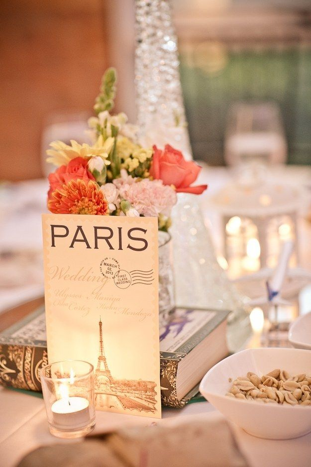 Turn favorite cities into centerpieces: | 27 Creative Ideas For A Travel-Themed Wedding - name tables after meaningful cities around the world