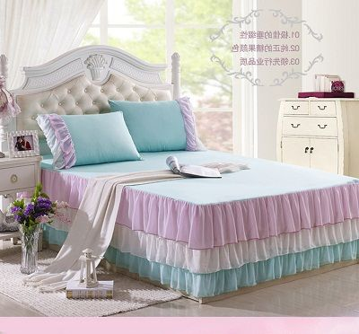 2015 Korean lace bed skirt 100% cotton Polyester Sheet rustic chiffon ruffled princess bedspread Twin Full Queen King bedcover