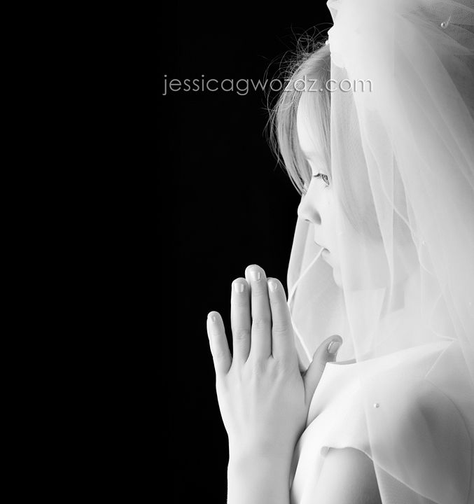 First Communion Photo Ideas - it would be great to have a photographer take this shot, and then it the Invitation information would go on the left.