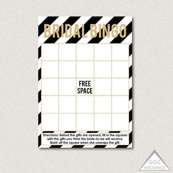 Bridal Shower Bingo, Fill-in Bingo Cards, Bridal Shower Game, Printable Bingo Cards, Black and Gold Glitter Bingo Cards, Gift Bingo Cards by SOSWeddings on Etsy https://www.etsy.com/listing/229737600/bridal-shower-bingo-fill-in-bingo-cards