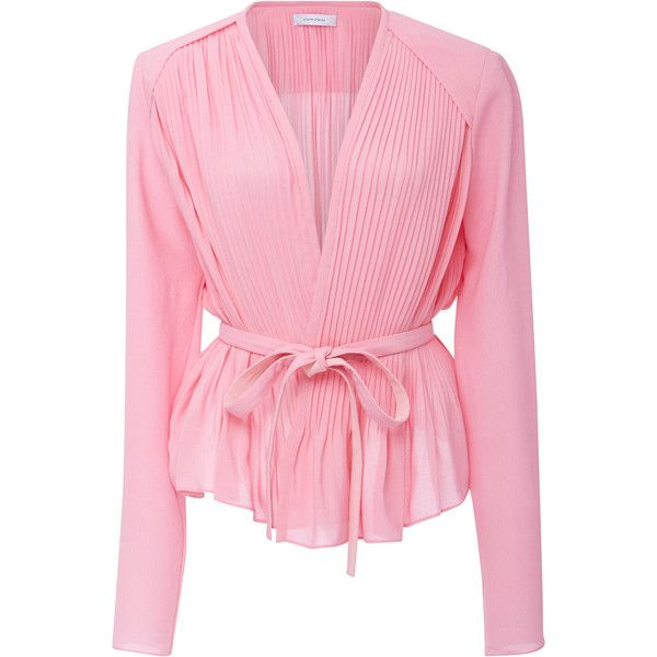Carven     Peplum Wrap Blouse ($590) ❤ liked on Polyvore featuring tops, blouses, light pink, carven top, peplum blouse, wrap style top, peplum tops and pink peplum top