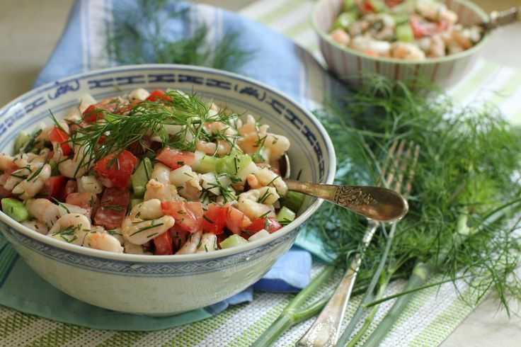 Shrimp Salad with Lemon Dill Dressing. Use small frozen shrimp, thawed ...