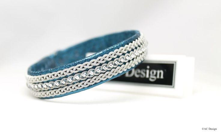 Sami bracelet | Saami armband | lapland bracelet | Viking bracelet | AC Design | www.acdesign.se #acdesign #bracelet #blue #metallic #gifts #glassbeads #leather