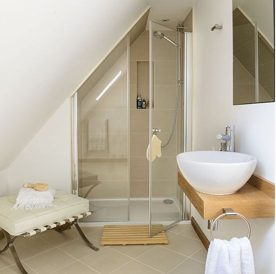sloped wall shower