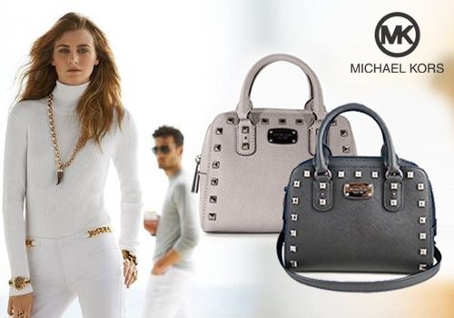Δερμάτινη τσάντα Michael Kors με περιμετρικά τρουκς, σε μαύρο ή γκρι! | Προσφορά Deals365.gr