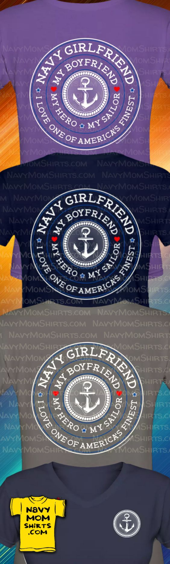 I freakin' love this shirt!!!! Proud Navy Girlfrend Shirts - My Boyfriend My Hero Shirts. Find them at NavyMomShirts.com