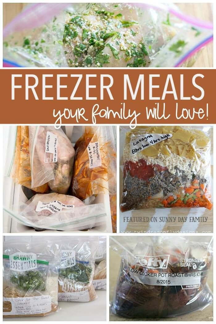Freezer Meals your family will love! 20+ freezer meal recipes and collections including crock pot freezer meals, casseroles, freezer meal breakfasts and more! All kid friendly and mom approved.