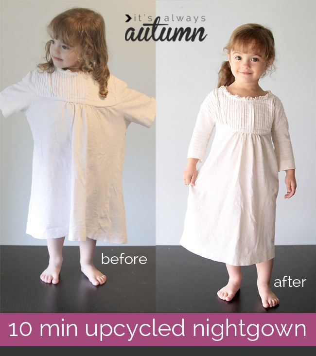 this nightgown made from an old t-shirt only takes about 10 minutes to make so there's plenty of time left before #Christmas to whip one up! #easy #sewing #upcycle #refashion