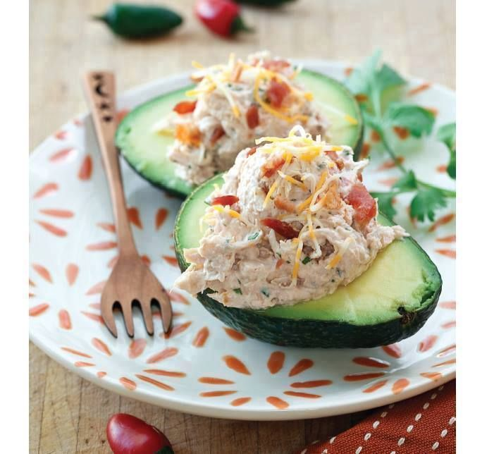 """Southwestern Chicken Salad in Avocado Bowls Recipe courtesy George Stella's """"Real Food Real Easy"""" Cookbook  https://www.facebook.com/groups/Luv2Cook  Prep Time 15 mins / Serves 4 ... Shopping List 2 cups cooked chicken, shredded 2⁄3 cup sour cream 3 tablespoons chunky salsa 1 tablespoon fresh chopped cilantro 1 teaspoon lime juice 2 avocados  1. Fold chicken, sour cream, salsa, cilantro, and lime juice together in a large bowl, shredding chicken with a fork until your desired consistency is…"""