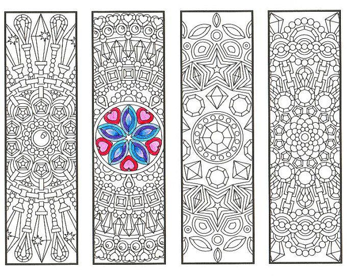 Colorare i segnalibri - Crystal mandala pagina 2 - disegni da colorare per adulti, i ragazzi più grandi e divoratori di libri - Guarisci presto regalo
