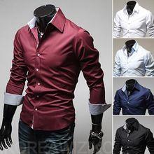 Envío barato primavera hombres moda Casual slim fit manga larga tees hombres de camisas de vestir ocio marca shirts 5 colores 5 tamaños