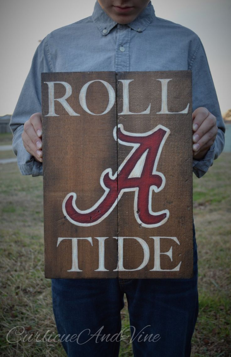 University of Alabama-Crimson Tide-Pallet Board-Roll Tide-Pallet Wall Art-Rustic Barnwood Decor-Man Cave-Shabby-Reclaimed Wood-Hand Painted by CurlicueAndVine on Etsy