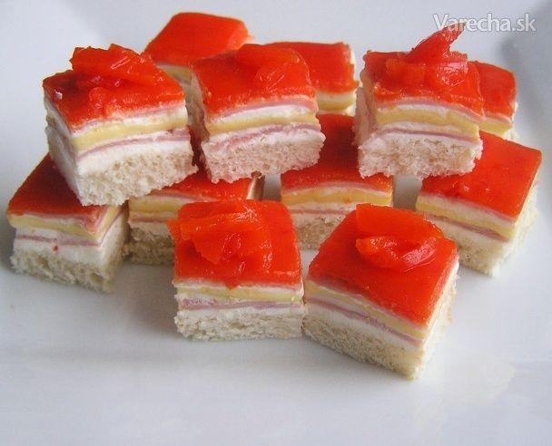 Šunkovo-syrové kocky s paprikovým želé (fotorecept)