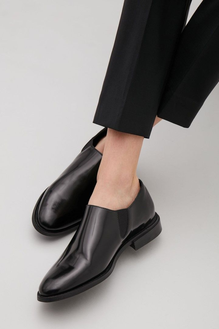 COS image 1 of Slip-on leather shoes in Black