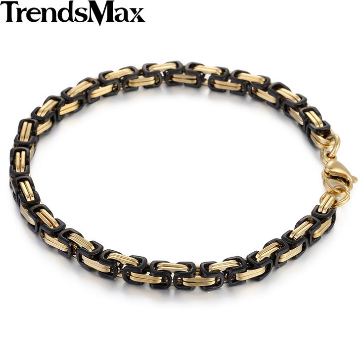 Trendsmax 4/5/8mm Mens Chain Boys Black Gold Color Stainless Steel Bracelet Byzantine Box Wholesale Jewelry KBM67