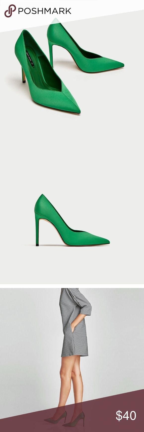 """HP 2/18 ZARA Green V Vamp Court Shoes Green high heel court shoes, fabric upper, V Vamp, lined Stiletto heel and pointed toe  Heel height 3.9"""" Zara Shoes Heels #stilettoheelspointed"""