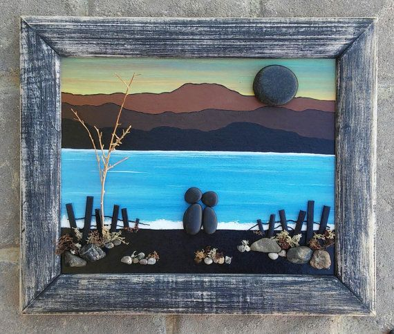 "90:00  Pebble Art Couple in Siloquette by the Lake or Ocean set in an ""open"" rustic 10x12 wood frame (FREE SHIPPING)"