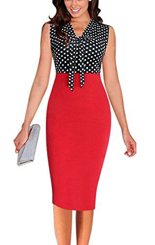 REPHYLLIS Women Vintage V Neck Elegant Office Wear to Work OL Cocktail Casual Party Pencil Dress Red XL. Bow-Knot Decor on the V Neckline. Polka Dot and Floral Print Contrast Pencil Dress. Great for women working, business office, casual cocktail party. Low Temperature for Washing. Our size is one size smaller,please choose one size larger when you buy.Please refer to our detail size information below the product description before order.Thanks!.