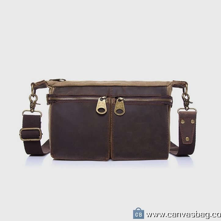 Real Leather and Canvas Messenger Bag for Women