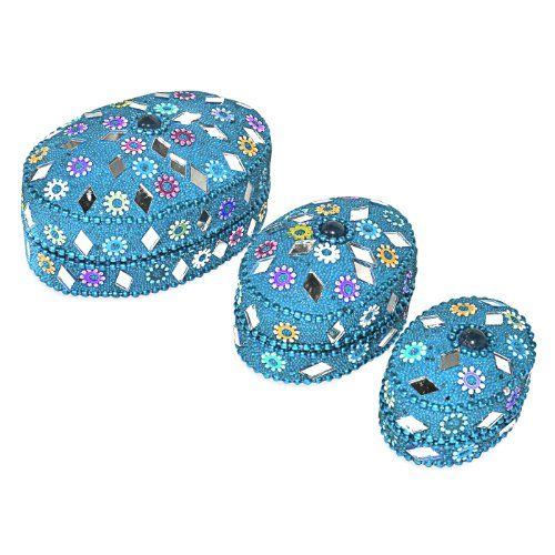 Indian Gift Home Decor Blue Oval shape Jewellery Boxes Handmade Lac Beaded Material Table Top Vintage Style Decorative Box Set of 3 Pcs Antique Pill Box DakshCraft http://www.amazon.co.uk/dp/B00ASIRSWW/ref=cm_sw_r_pi_dp_oELfwb0RX7RWR