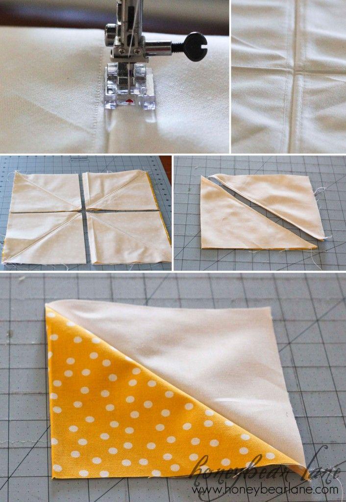 'AWESOME tutorial: Eight Square Method'!!!!Squares Method, Half Squares Triangles, Hst, Quilt Block, Half Square Triangles, Bears Lane, Honey Bears, Triangles Squares, Quilt Shortcuts