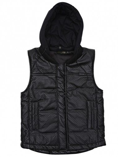 NANA JUDY PUFFER VEST WITH MINI QUILT FAUX LEATHER BLACK