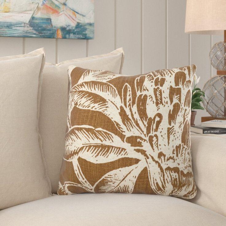 Jasiah Coral Botanical Linen Throw Pillow Throw Pillows Linen Throw Pillow Pillows