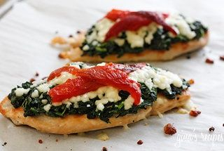 Grilled chicken with spinach, mozzarella, roasted red peppers. Easy weeknight dinner.