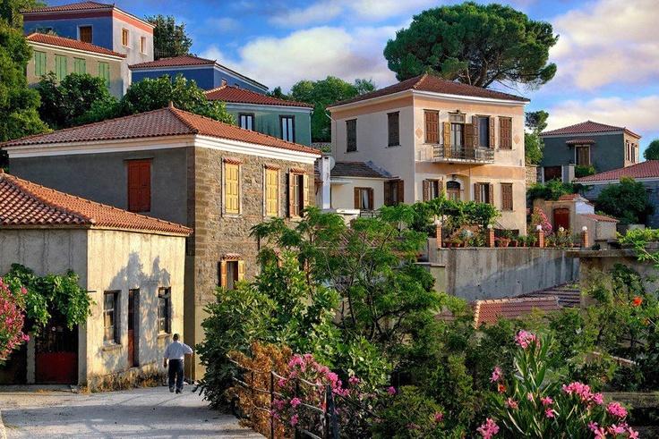 The Beautiful Village of Vatoussa in Lesvos Island - GREECE