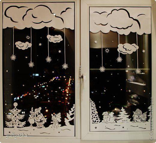 Декор предметов Новый год Аппликация Новогодние окна   Бумага фото 2