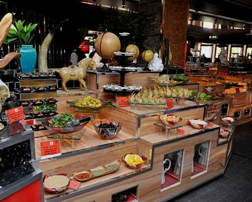 A more commercial take on modern buffet style, but could easily be adapted
