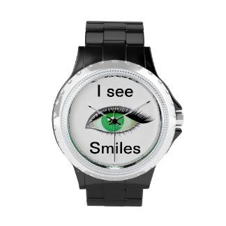 I watch and see smiles green eye wrist watch