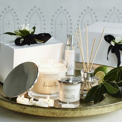 The White Company US. Lime and Bay | Like stepping into a colorful tropical garden. Beautifully alluring, this perfect fusion of exotic mandarin, pink grapefruit, bergamot, orange, lime and lemon is laced with jasmine buds, lime blossom, ginger and crushed bay leaves. Finished with warming notes of patchouli, the resulting scent is wonderfully vibrant. Pinning from the UK? -> http://www.thewhitecompany.com/candles-and-fragrance/home-fragrances/diffusers/lime-and-bay-diffuser/