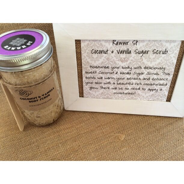 Rawwr St - Coconut & Vanilla Sugar Scrub Moisturise your body with deliciously sweet Coconut & Vanilla Sugar Scrub. This scrub will warm your senses and enhance your skin with a beautiful rich moisturised glow. There will be no need to apply a moisturiser after this at home spa treatment!  #rawwrst #beauty #natural #health #wellness #wellbeing #body #scrub #mooloolaba #skin