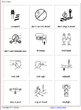 Street Safety-this poster shows kids about the safety they should follow day by day, how to walk in their neighborhood and what the signs mean