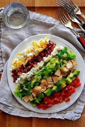 The classic American chopped salad, the Cobb was created by the owner of Los Angeles' long-gone Brown Derby restaurant in 1937 from leftover ingredients - namely bacon, tomato, chicken, avocado, hard-boiled egg, chives, watercress, lettuce and blue cheese. You can dial this recipe up any way you like (red capsicum, celery, carrots, apple cucumber, salami, chickpeas).