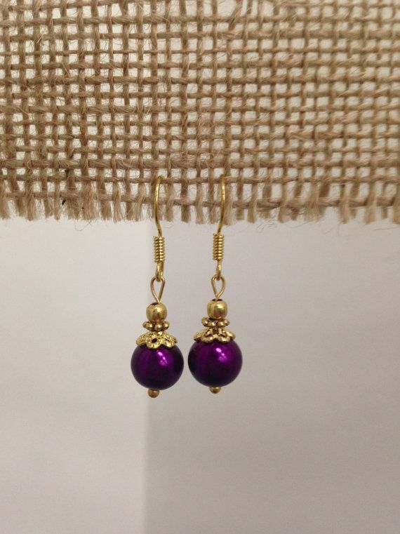 SALE  Purple Pearl Drop Earrings by SCBoutique123 on Etsy