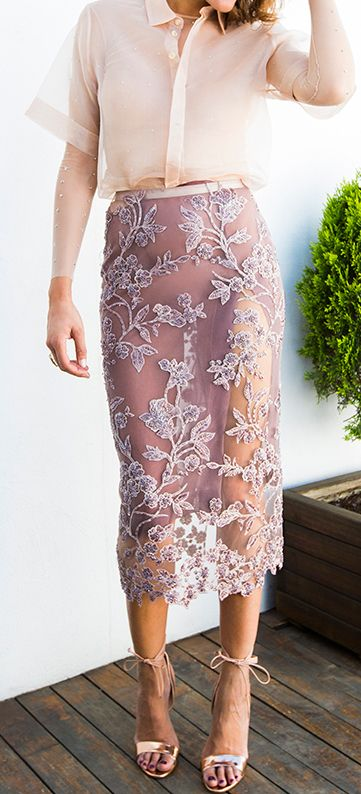 Sheer blush. lace skirt. women fashion outfit clothing stylish apparel @roressclothes closet ideas