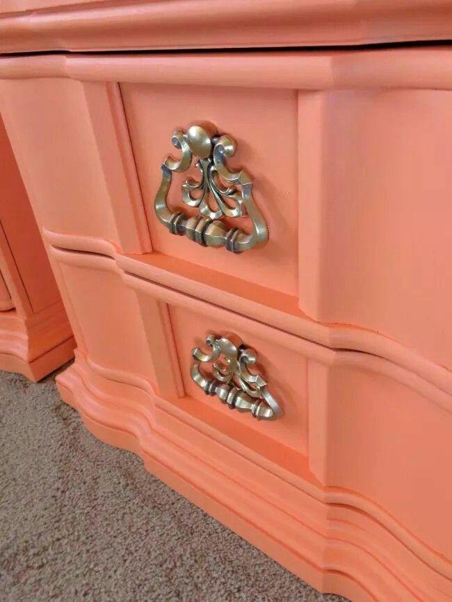 Tangerine Orange Mediterranean Style Regency Vintage Ornate Chunky Nightstands